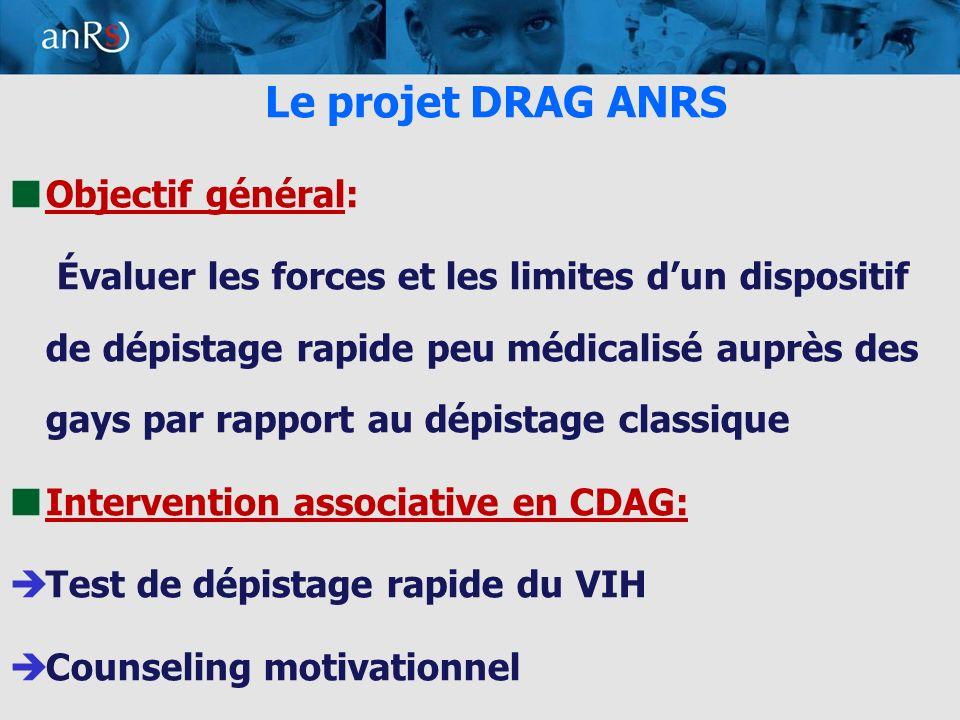 3 Le projet DRAG ANRS Objectif général: Évaluer les forces et les limites dun dispositif de dépistage rapide peu médicalisé auprès des gays par rapport au dépistage classique Intervention associative en CDAG: Test de dépistage rapide du VIH Counseling motivationnel