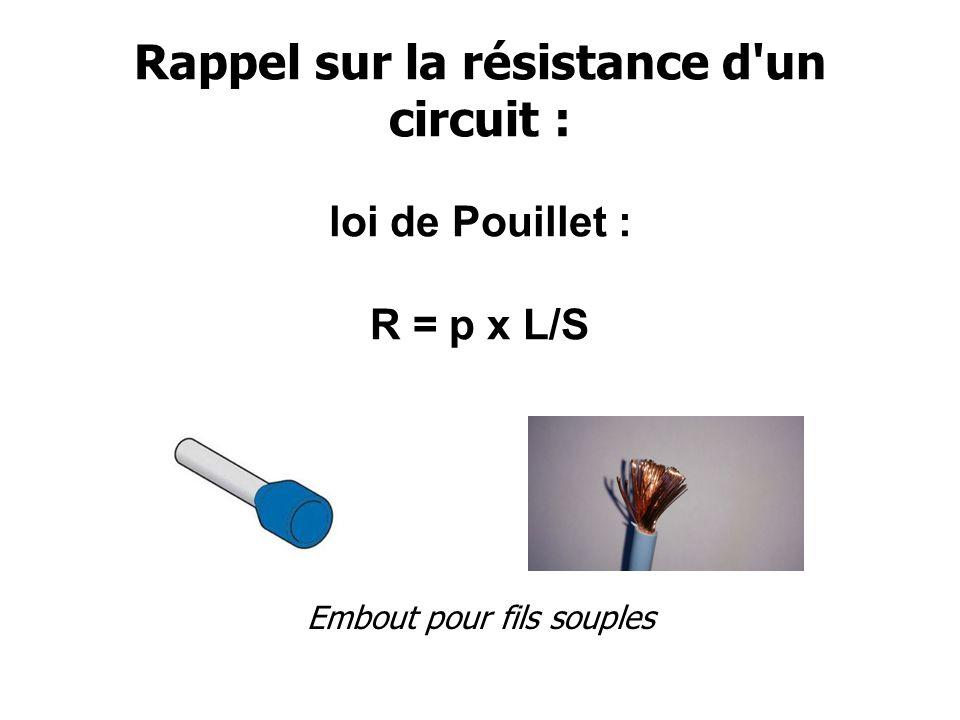 Rappel sur la résistance d un circuit : Détermination de la section d un câble Lutilisation du fichier Excel est fortement conseillé .