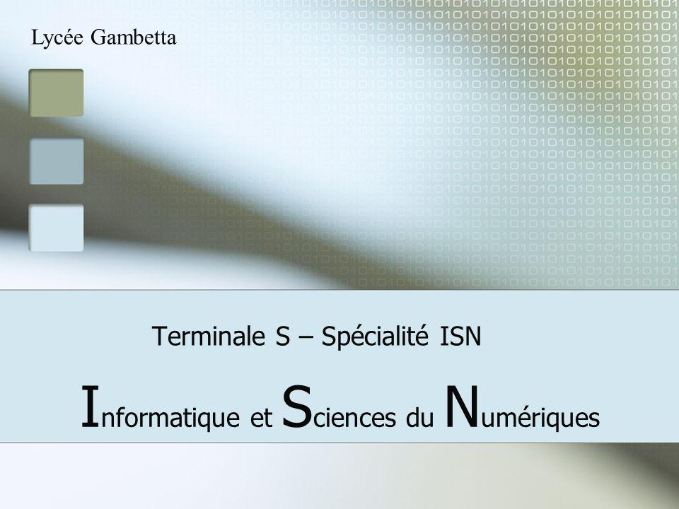 Terminale S – Spécialité ISN I nformatique et S ciences du N umériques Lycée Gambetta
