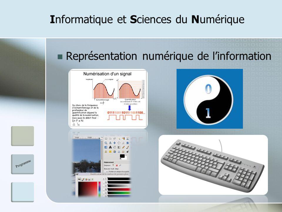 Informatique et Sciences du Numérique Représentation numérique de linformation Programme