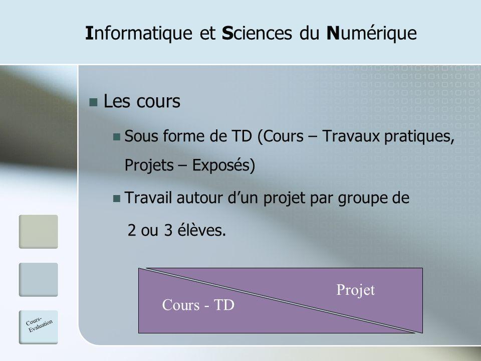 Informatique et Sciences du Numérique Les cours Sous forme de TD (Cours – Travaux pratiques, Projets – Exposés) Travail autour dun projet par groupe d