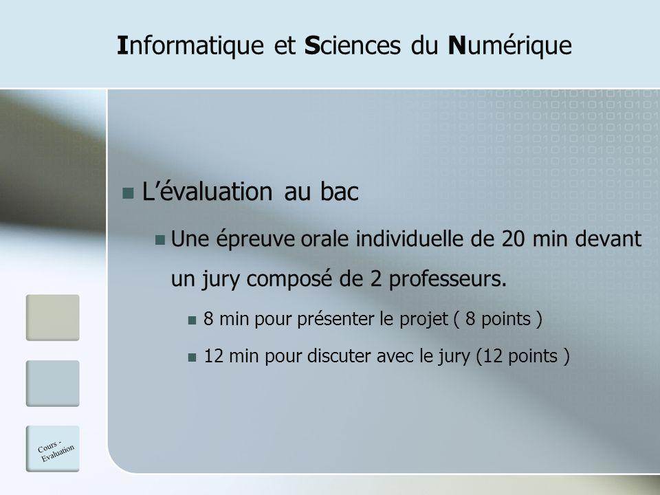 Informatique et Sciences du Numérique Lévaluation au bac Une épreuve orale individuelle de 20 min devant un jury composé de 2 professeurs. 8 min pour
