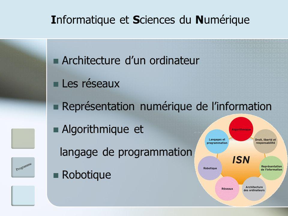 Informatique et Sciences du Numérique Architecture dun ordinateur Les réseaux Représentation numérique de linformation Algorithmique et langage de pro