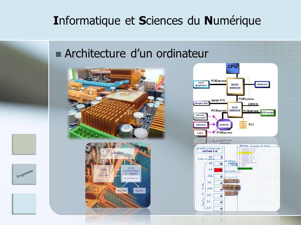 Informatique et Sciences du Numérique Architecture dun ordinateur Programme