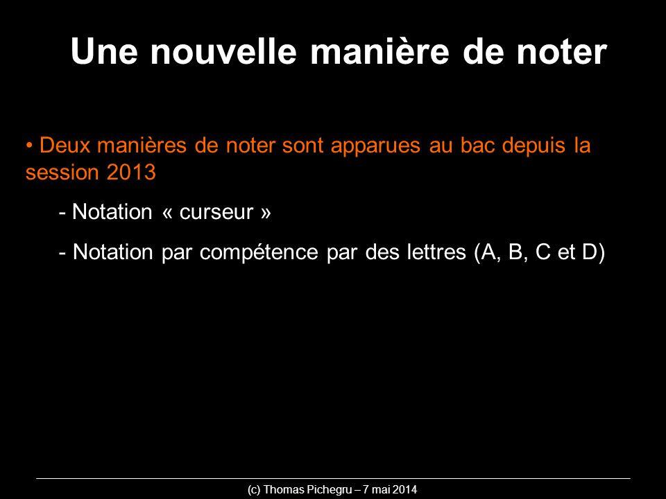 Une nouvelle manière de noter Deux manières de noter sont apparues au bac depuis la session 2013 - Notation « curseur » - Notation par compétence par