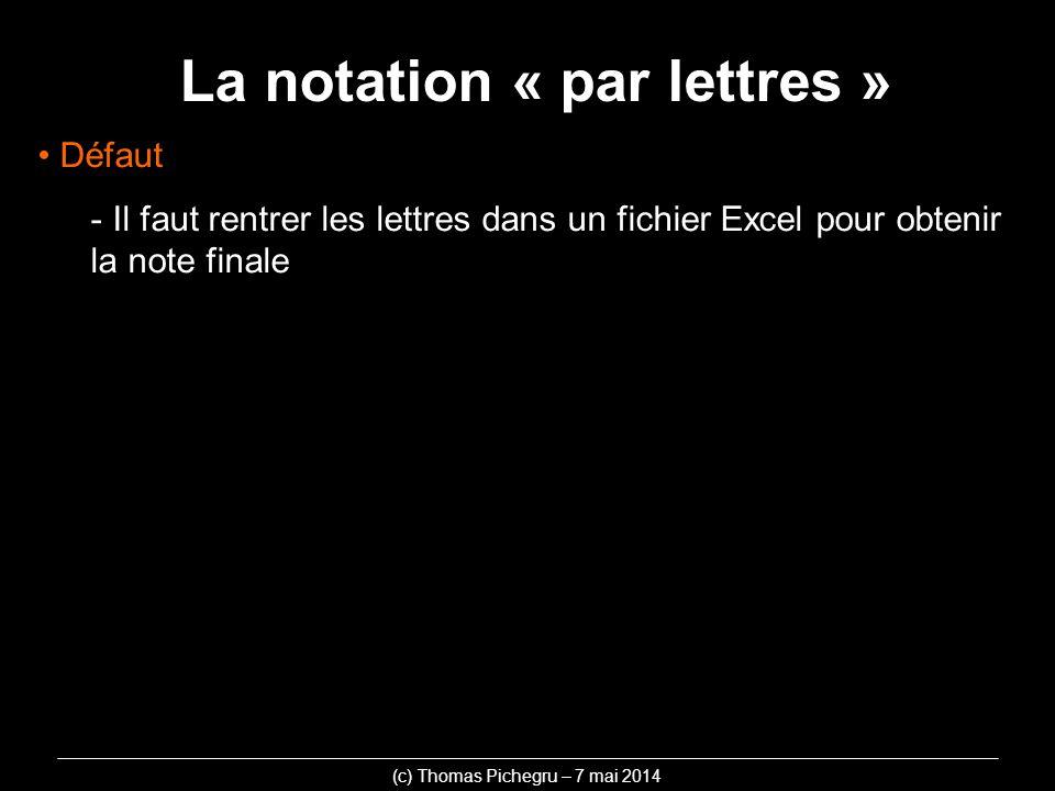 La notation « par lettres » (c) Thomas Pichegru – 7 mai 2014 Défaut - Il faut rentrer les lettres dans un fichier Excel pour obtenir la note finale