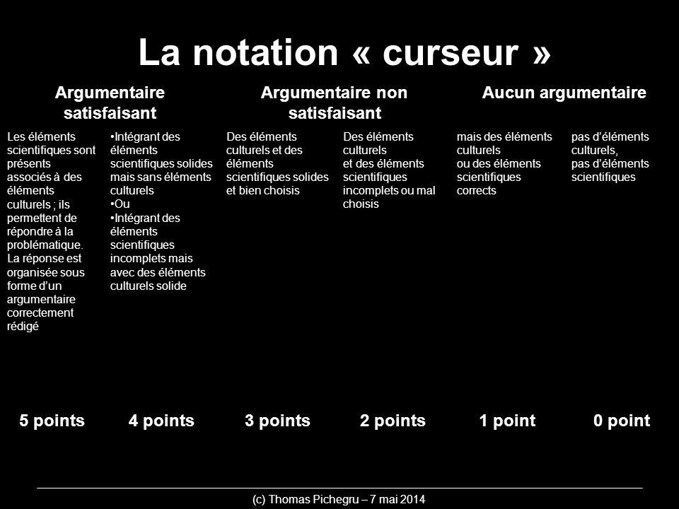 La notation « curseur » (c) Thomas Pichegru – 7 mai 2014 Argumentaire satisfaisant Argumentaire non satisfaisant Aucun argumentaire Les éléments scien