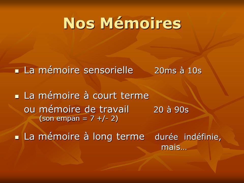 Nos Mémoires La mémoire sensorielle 20ms à 10s La mémoire sensorielle 20ms à 10s La mémoire à court terme La mémoire à court terme ou mémoire de trava
