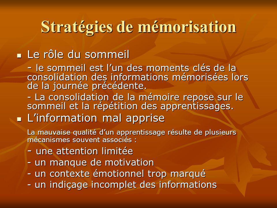 Stratégies de mémorisation Le rôle du sommeil Le rôle du sommeil - le sommeil est lun des moments clés de la consolidation des informations mémorisées