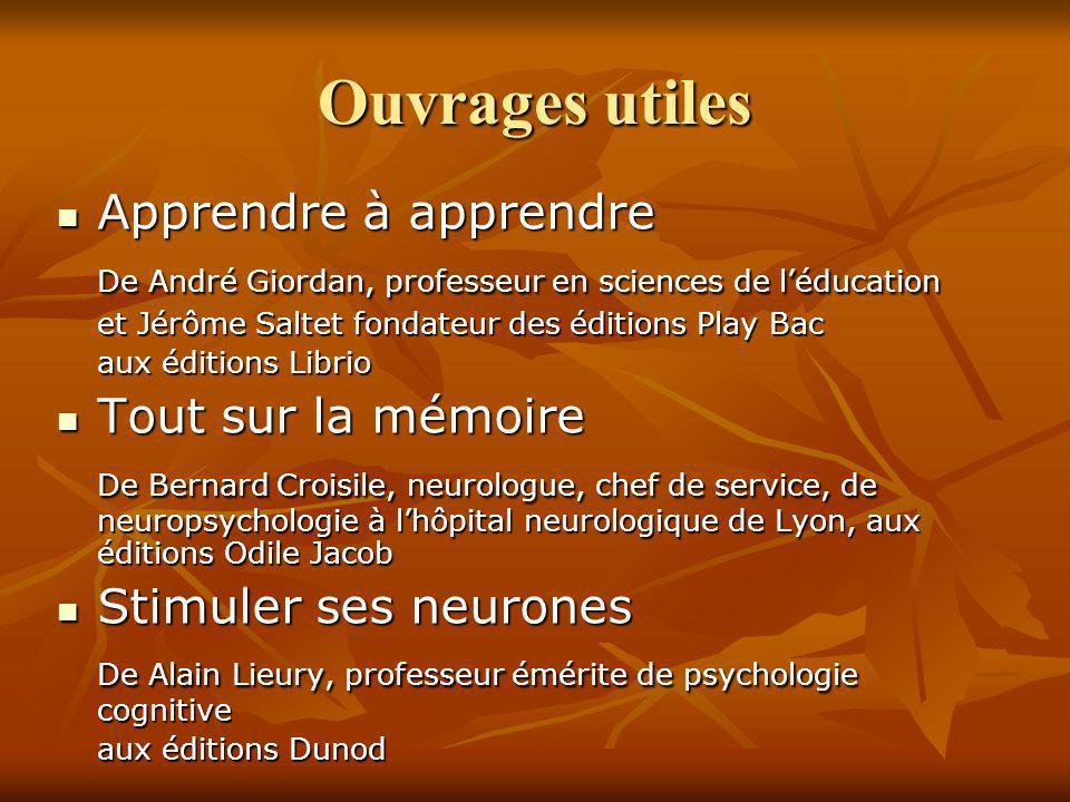 Ouvrages utiles Apprendre à apprendre Apprendre à apprendre De André Giordan, professeur en sciences de léducation De André Giordan, professeur en sci