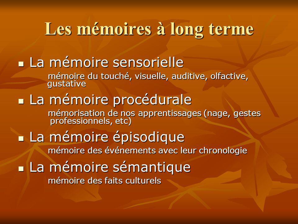 Les mémoires à long terme La mémoire sensorielle La mémoire sensorielle mémoire du touché, visuelle, auditive, olfactive, gustative gustative La mémoi