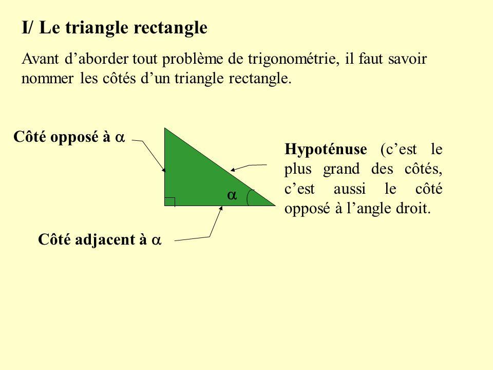 I/ Le triangle rectangle Avant daborder tout problème de trigonométrie, il faut savoir nommer les côtés dun triangle rectangle. Hypoténuse (cest le pl