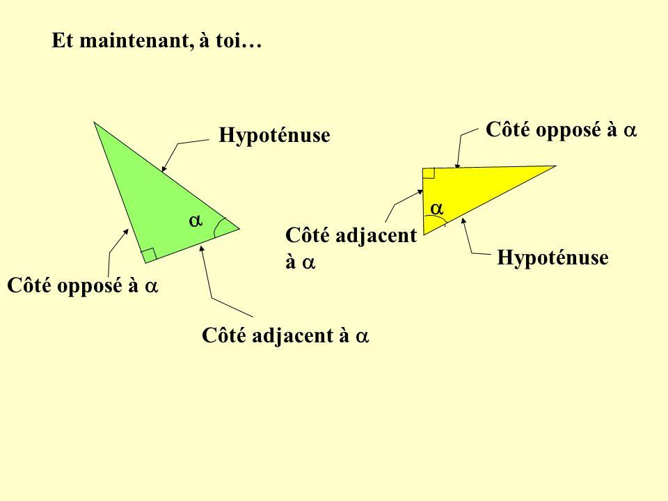 Et maintenant, à toi… Hypoténuse Côté opposé à Côté adjacent à Hypoténuse Côté opposé à Côté adjacent à