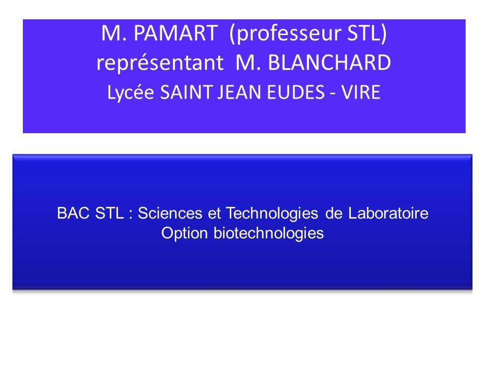 M. PAMART (professeur STL) représentant M. BLANCHARD Lycée SAINT JEAN EUDES - VIRE BAC STL : Sciences et Technologies de Laboratoire Option biotechnol