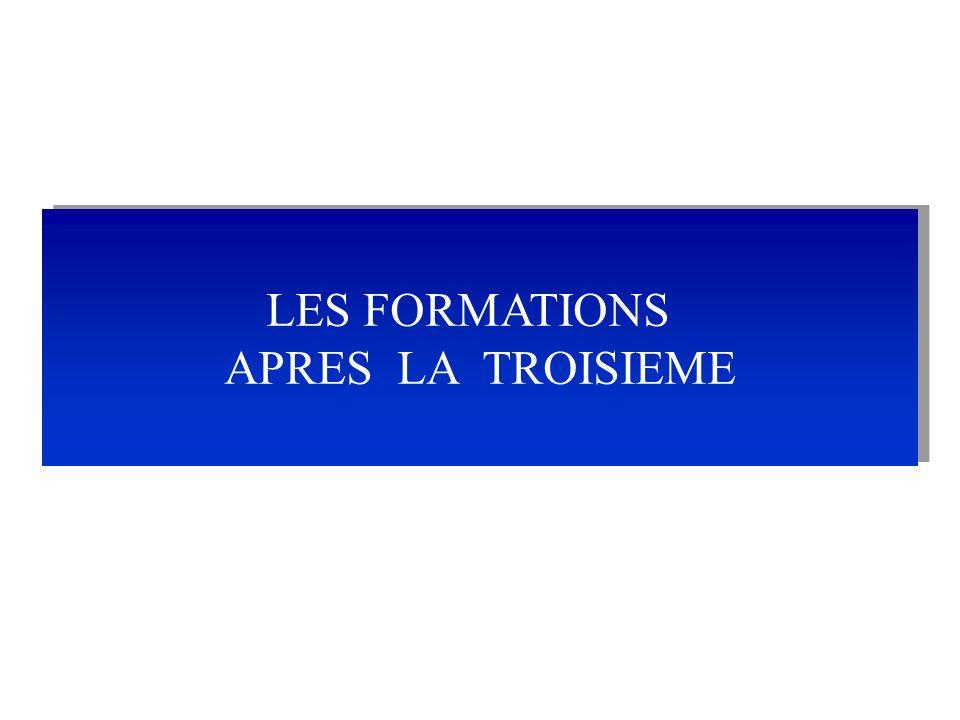 LES FORMATIONS APRES LA TROISIEME LES FORMATIONS APRES LA TROISIEME