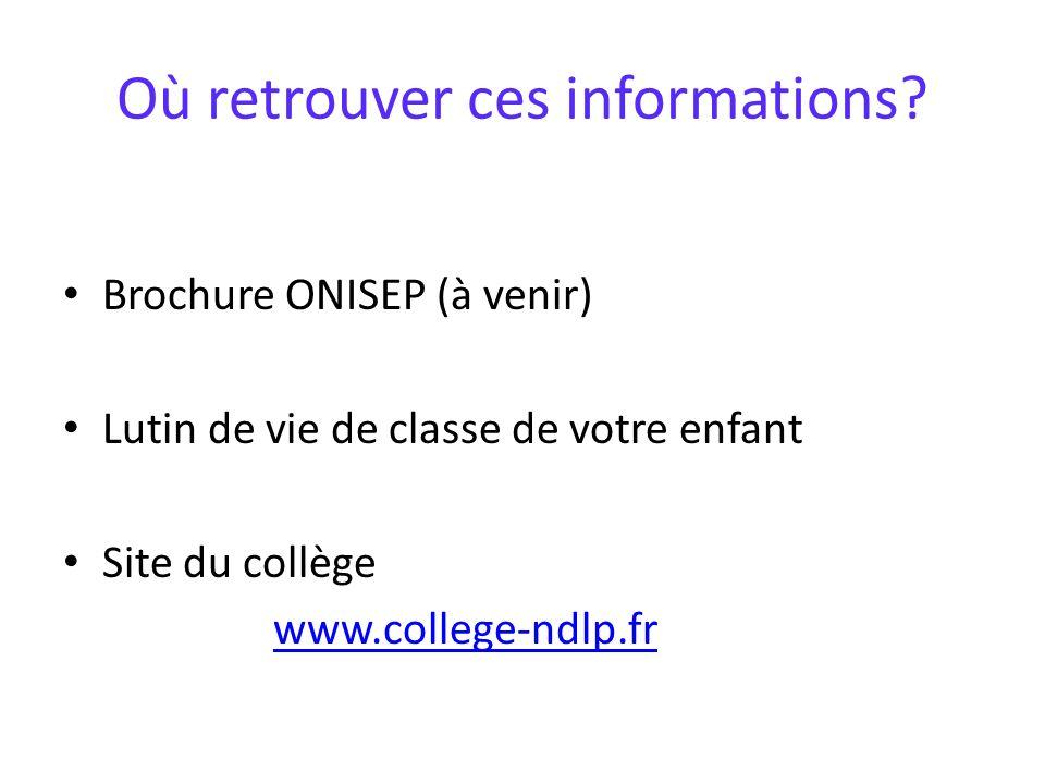 Où retrouver ces informations? Brochure ONISEP (à venir) Lutin de vie de classe de votre enfant Site du collège www.college-ndlp.fr