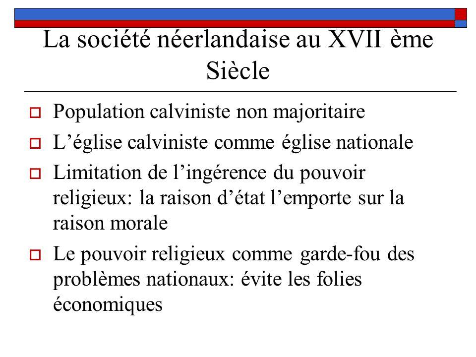 La société néerlandaise au XVII ème Siècle Population calviniste non majoritaire Léglise calviniste comme église nationale Limitation de lingérence du