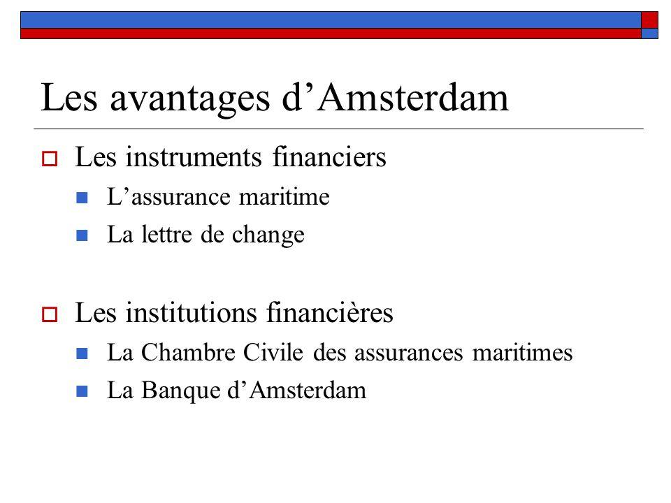 Les avantages dAmsterdam Les instruments financiers Lassurance maritime La lettre de change Les institutions financières La Chambre Civile des assuran