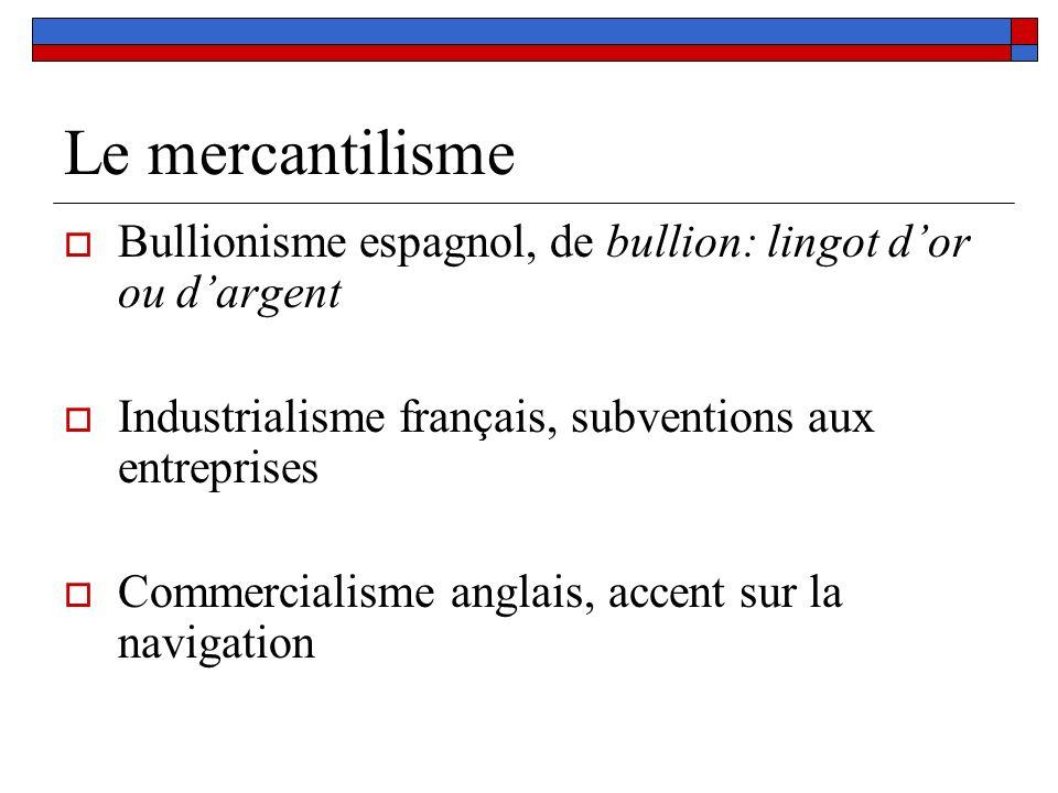 Le mercantilisme Bullionisme espagnol, de bullion: lingot dor ou dargent Industrialisme français, subventions aux entreprises Commercialisme anglais,