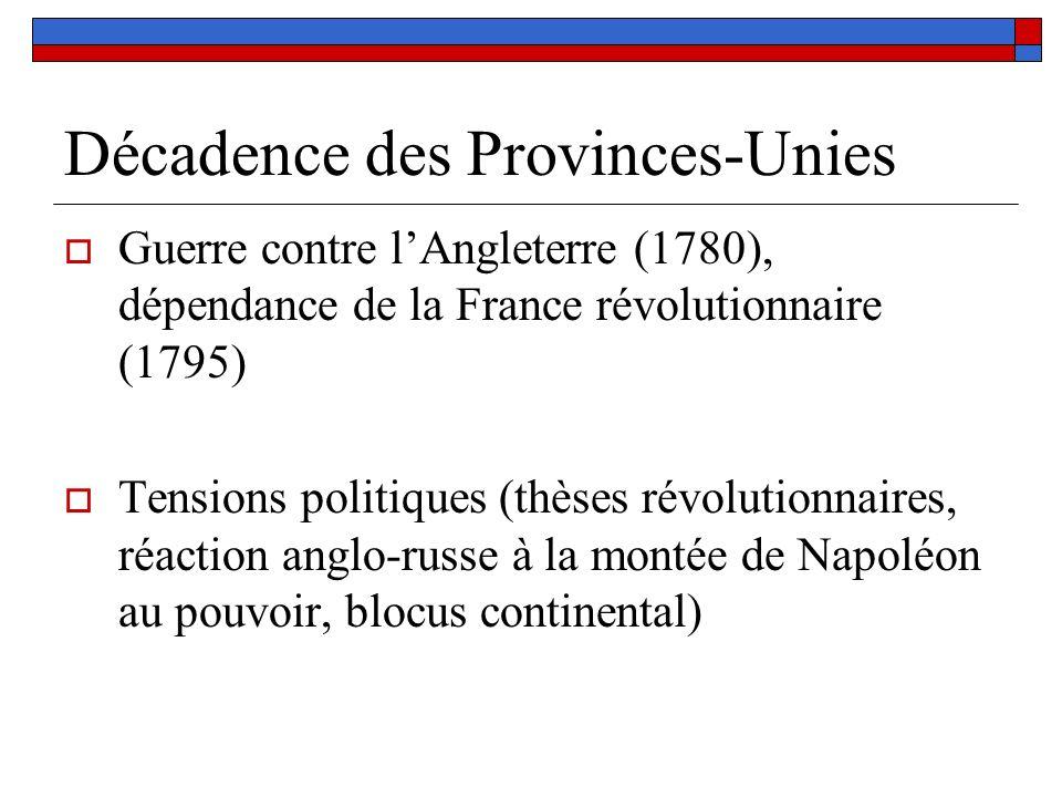 Décadence des Provinces-Unies Guerre contre lAngleterre (1780), dépendance de la France révolutionnaire (1795) Tensions politiques (thèses révolutionn