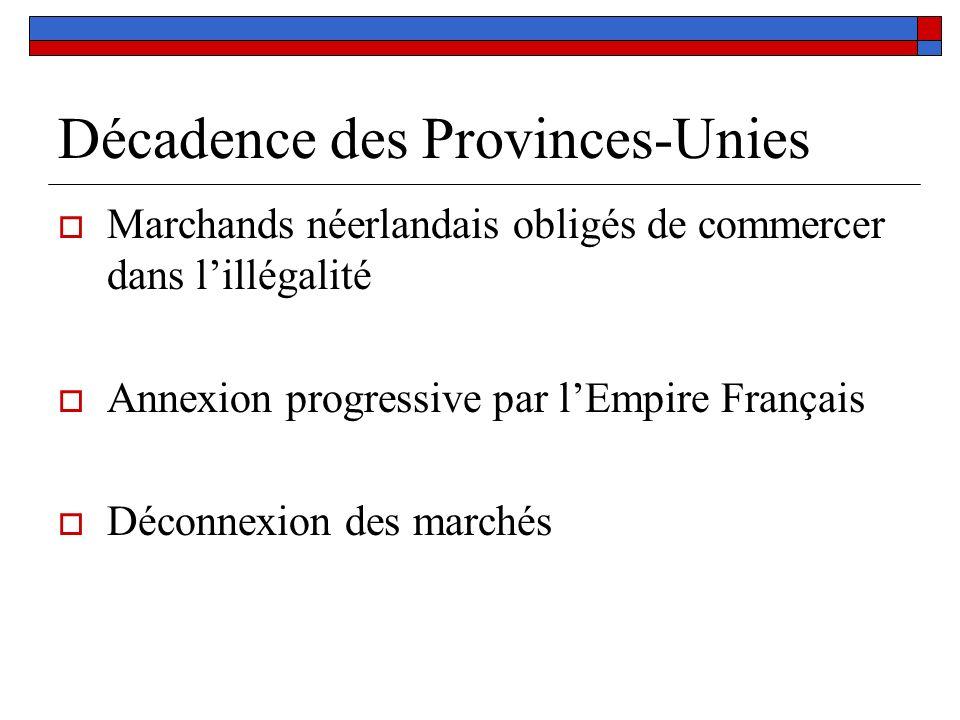 Décadence des Provinces-Unies Marchands néerlandais obligés de commercer dans lillégalité Annexion progressive par lEmpire Français Déconnexion des ma