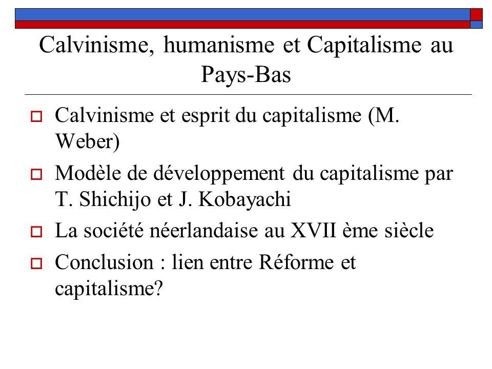 Calvinisme, humanisme et Capitalisme au Pays-Bas Calvinisme et esprit du capitalisme (M. Weber) Modèle de développement du capitalisme par T. Shichijo