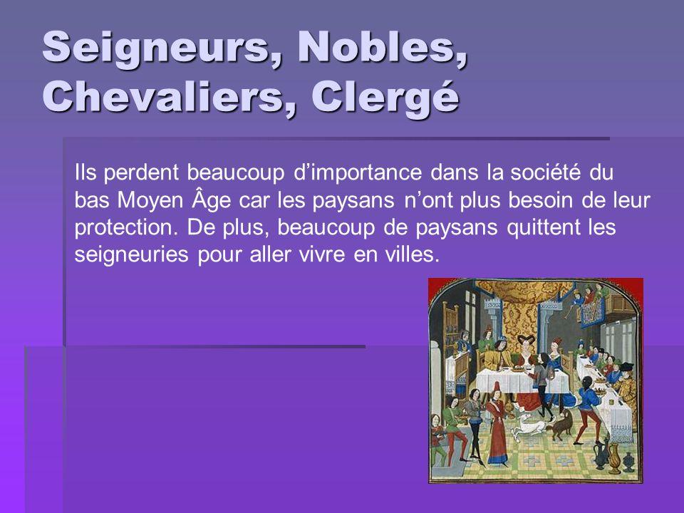 Seigneurs, Nobles, Chevaliers, Clergé Ils perdent beaucoup dimportance dans la société du bas Moyen Âge car les paysans nont plus besoin de leur prote
