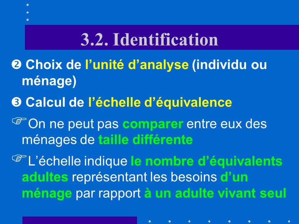 3.2. Identification Choix de lindicateur Revenu: bien-être envisagé comme un droit (à un revenu minimum) En utilisant le revenu, on risque de sous- es