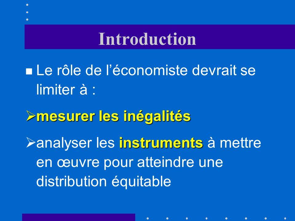 Introduction n Le rôle de léconomiste devrait se limiter à : mesurer les inégalités mesurer les inégalités instruments analyser les instruments à mettre en œuvre pour atteindre une distribution équitable