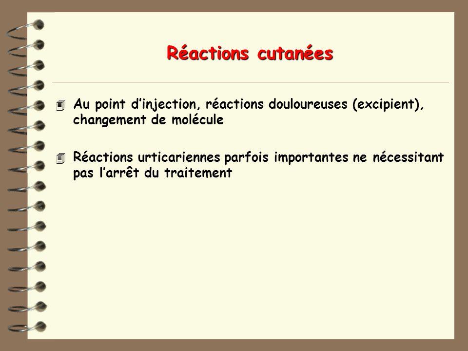 Réactions cutanées 4 Au point dinjection, réactions douloureuses (excipient), changement de molécule 4 Réactions urticariennes parfois importantes ne nécessitant pas larrêt du traitement