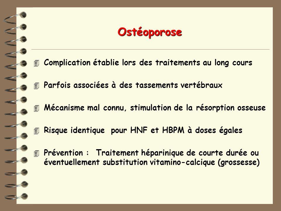 Ostéoporose 4 Complication établie lors des traitements au long cours 4 Parfois associées à des tassements vertébraux 4 Mécanisme mal connu, stimulation de la résorption osseuse 4 Risque identique pour HNF et HBPM à doses égales 4 Prévention : Traitement héparinique de courte durée ou éventuellement substitution vitamino-calcique (grossesse)