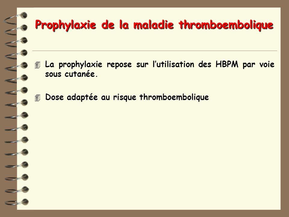 Prophylaxie de la maladie thromboembolique 4 La prophylaxie repose sur lutilisation des HBPM par voie sous cutanée.