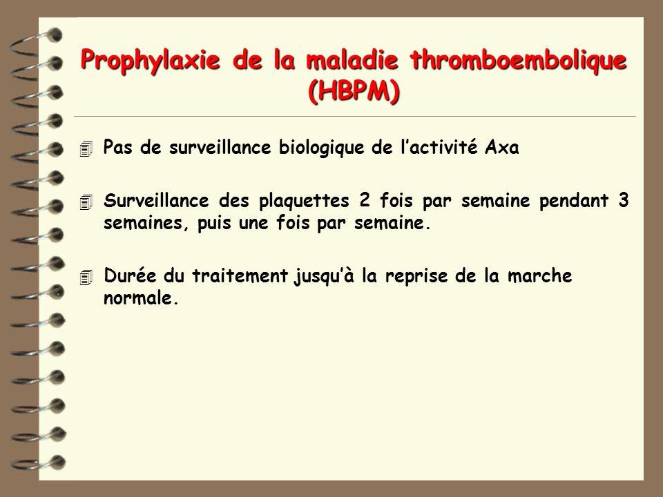 Prophylaxie de la maladie thromboembolique (HBPM) 4 Pas de surveillance biologique de lactivité Axa 4 Surveillance des plaquettes 2 fois par semaine pendant 3 semaines, puis une fois par semaine.