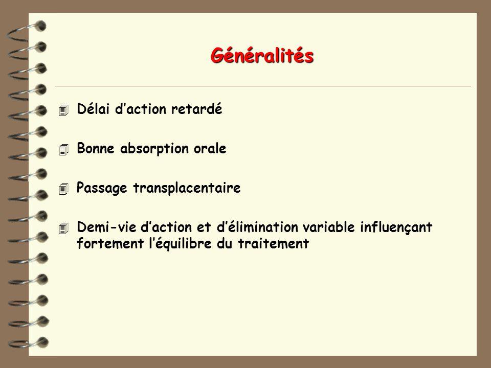 Généralités 4 Délai daction retardé 4 Bonne absorption orale 4 Passage transplacentaire 4 Demi-vie daction et délimination variable influençant fortement léquilibre du traitement