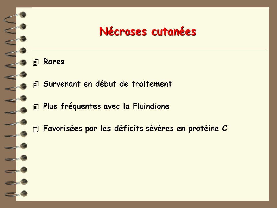 Nécroses cutanées 4 Rares 4 Survenant en début de traitement 4 Plus fréquentes avec la Fluindione 4 Favorisées par les déficits sévères en protéine C