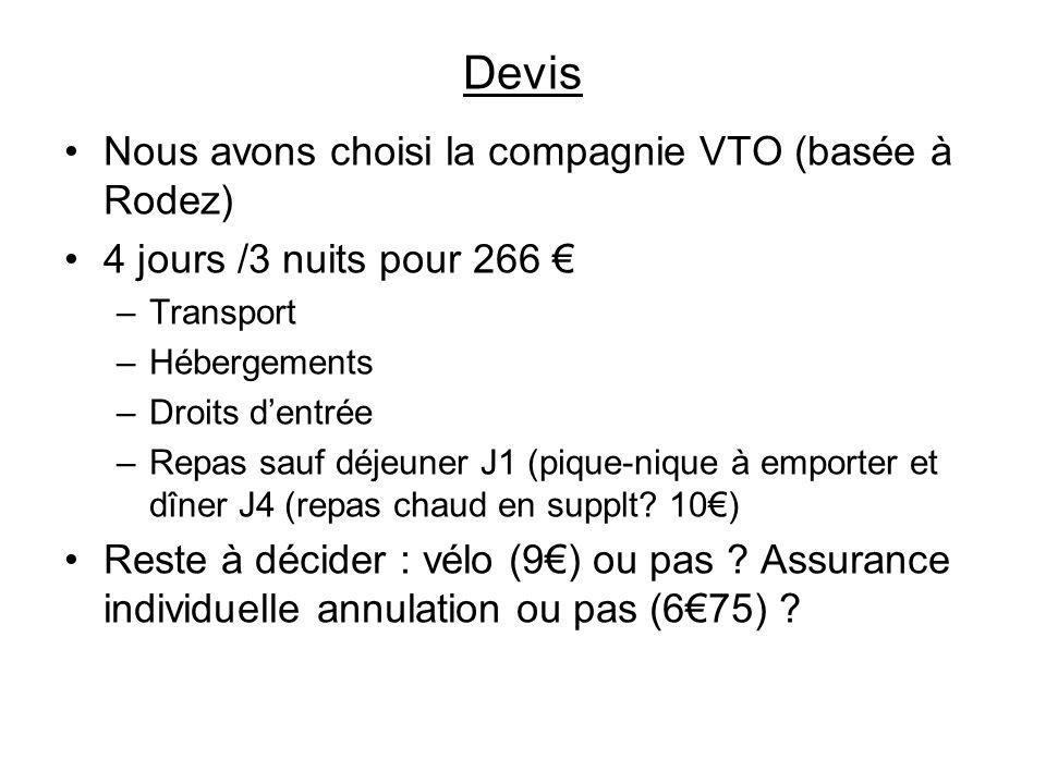 Devis Nous avons choisi la compagnie VTO (basée à Rodez) 4 jours /3 nuits pour 266 –Transport –Hébergements –Droits dentrée –Repas sauf déjeuner J1 (p