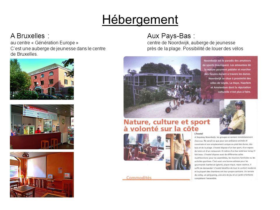 Hébergement A Bruxelles : au centre « Génération Europe » Cest une auberge de jeunesse dans le centre de Bruxelles. Aux Pays-Bas : centre de Noordwijk