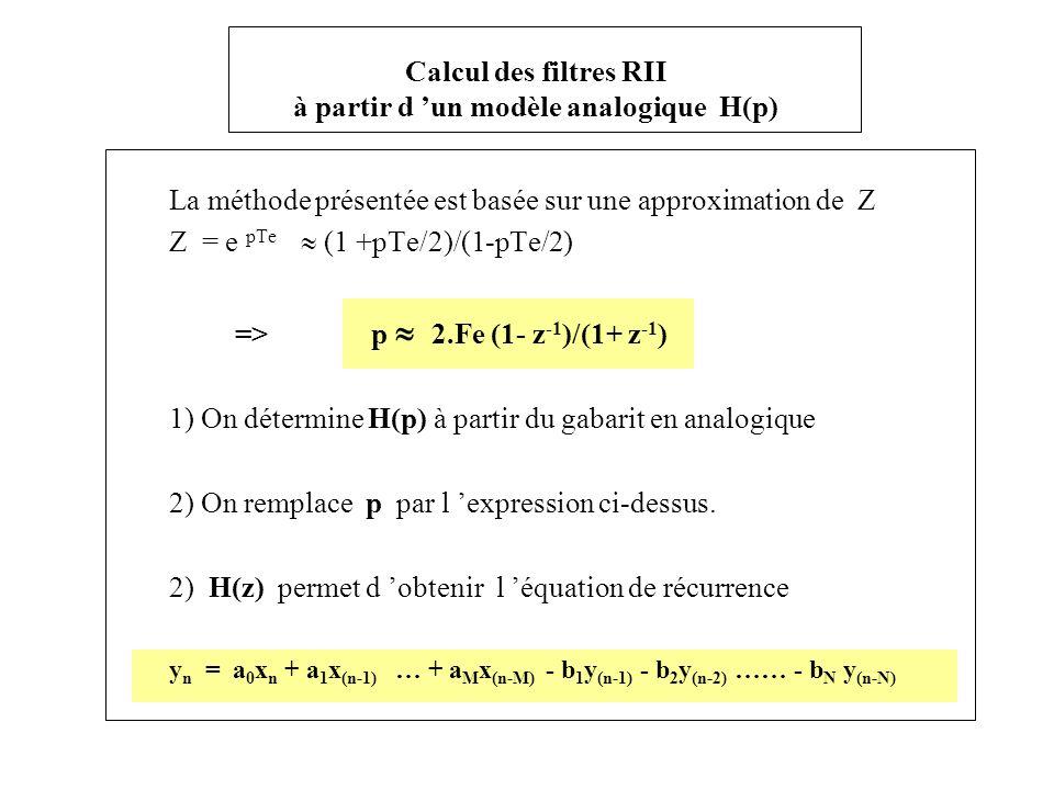 Calcul des filtres RII à partir d un modèle analogique H(p) La méthode présentée est basée sur une approximation de Z Z = e pTe (1 +pTe/2)/(1-pTe/2) =