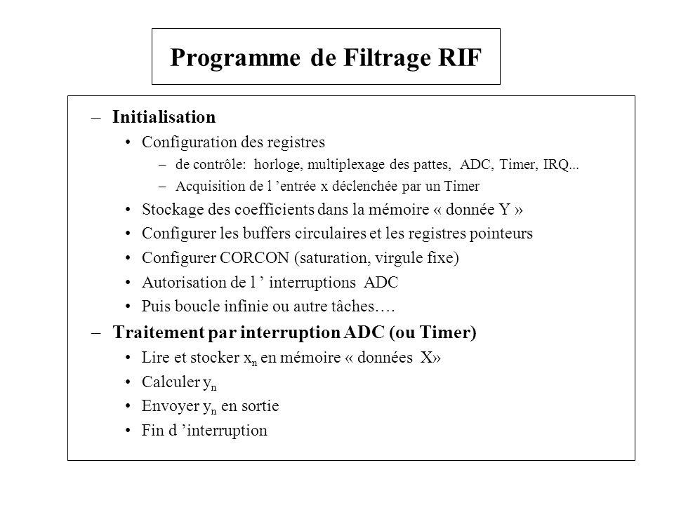 –Initialisation Configuration des registres –de contrôle: horloge, multiplexage des pattes, ADC, Timer, IRQ... –Acquisition de l entrée x déclenchée p