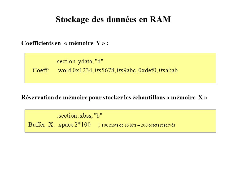 Coefficients en « mémoire Y » :.section.ydata,