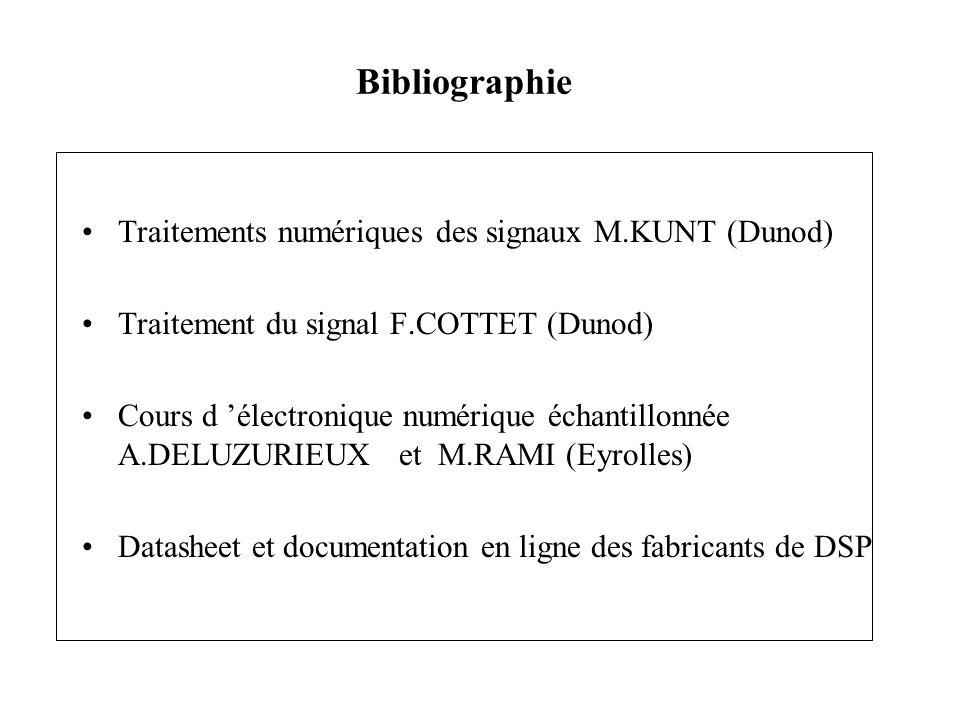 Traitements numériques des signaux M.KUNT (Dunod) Traitement du signal F.COTTET (Dunod) Cours d électronique numérique échantillonnée A.DELUZURIEUX et