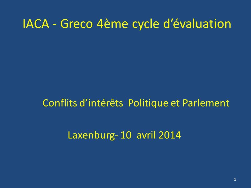 1 IACA - Greco 4ème cycle dévaluation Conflits dintérêts Politique et Parlement Laxenburg- 10 avril 2014