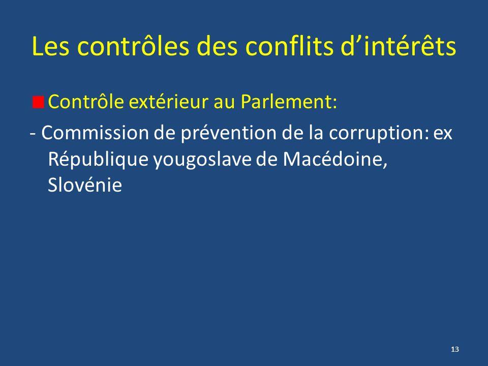 13 Les contrôles des conflits dintérêts Contrôle extérieur au Parlement: - Commission de prévention de la corruption: ex République yougoslave de Macédoine, Slovénie