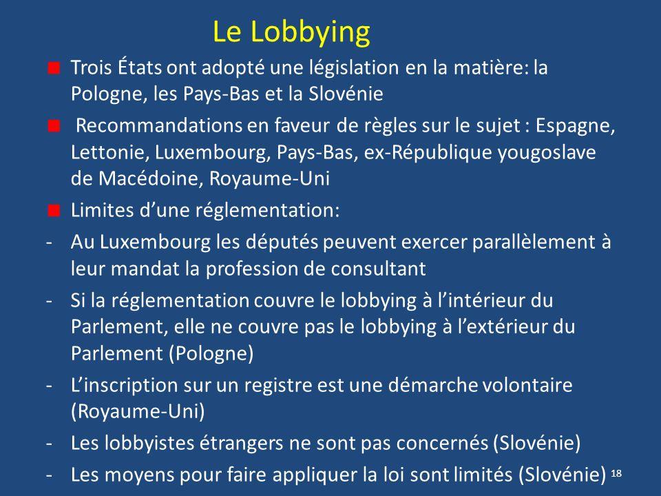 18 Le Lobbying Trois États ont adopté une législation en la matière: la Pologne, les Pays-Bas et la Slovénie Recommandations en faveur de règles sur le sujet : Espagne, Lettonie, Luxembourg, Pays-Bas, ex-République yougoslave de Macédoine, Royaume-Uni Limites dune réglementation: -Au Luxembourg les députés peuvent exercer parallèlement à leur mandat la profession de consultant -Si la réglementation couvre le lobbying à lintérieur du Parlement, elle ne couvre pas le lobbying à lextérieur du Parlement (Pologne) -Linscription sur un registre est une démarche volontaire (Royaume-Uni) -Les lobbyistes étrangers ne sont pas concernés (Slovénie) -Les moyens pour faire appliquer la loi sont limités (Slovénie)