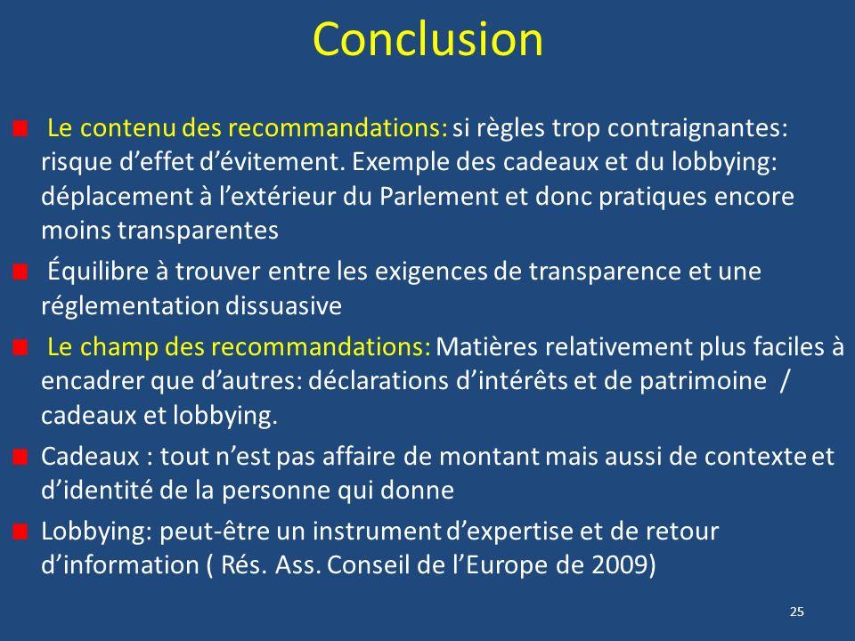 25 Conclusion Le contenu des recommandations: si règles trop contraignantes: risque deffet dévitement.