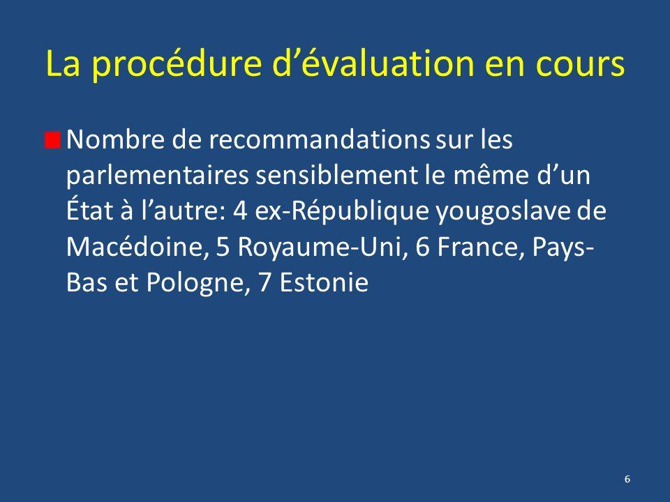 6 La procédure dévaluation en cours Nombre de recommandations sur les parlementaires sensiblement le même dun État à lautre: 4 ex-République yougoslave de Macédoine, 5 Royaume-Uni, 6 France, Pays- Bas et Pologne, 7 Estonie