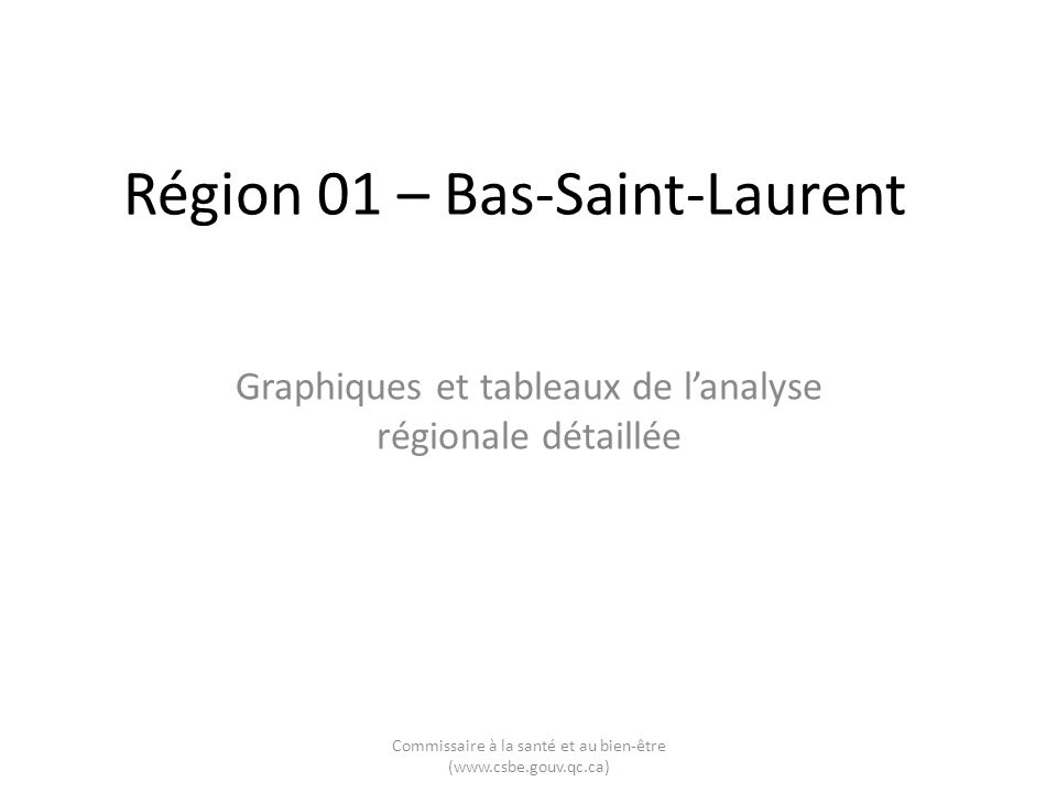 Région 01 – Bas-Saint-Laurent Graphiques et tableaux de lanalyse régionale détaillée Commissaire à la santé et au bien-être (www.csbe.gouv.qc.ca)