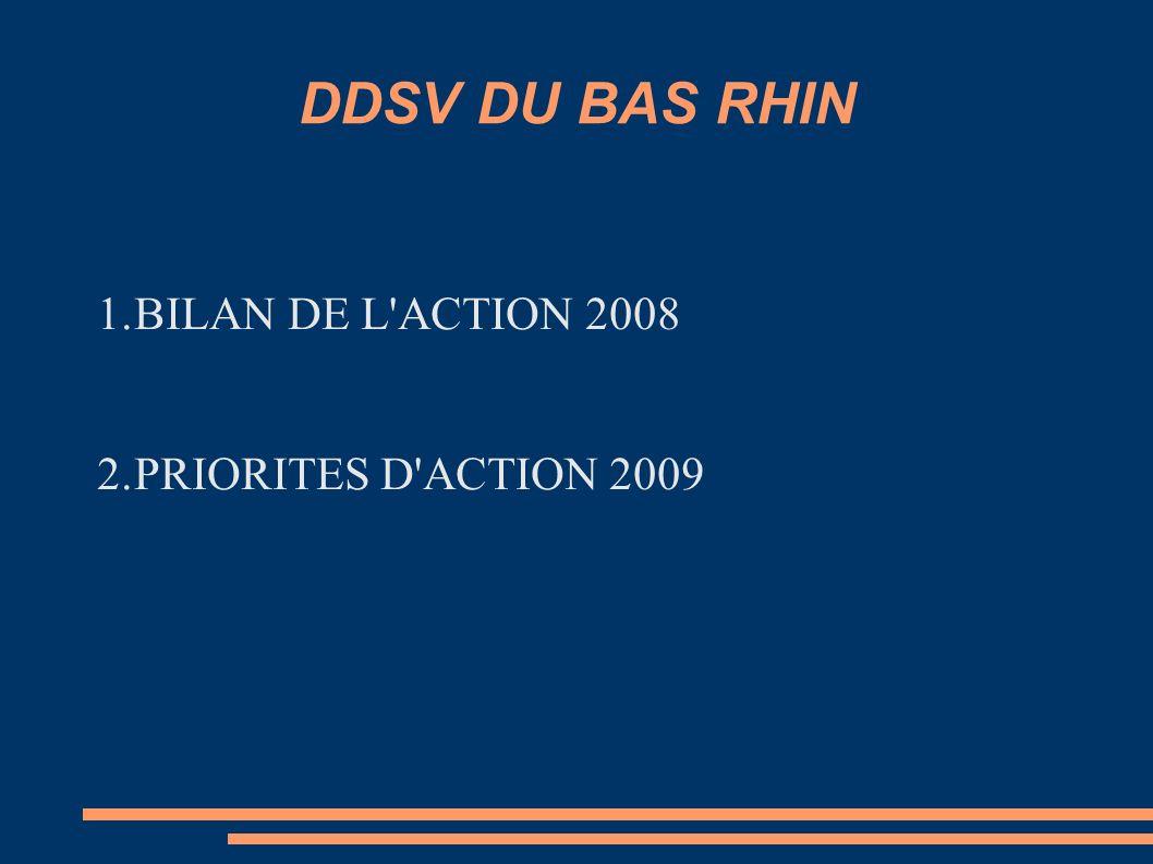 DDSV DU BAS RHIN 1.BILAN DE L'ACTION 2008 2.PRIORITES D'ACTION 2009