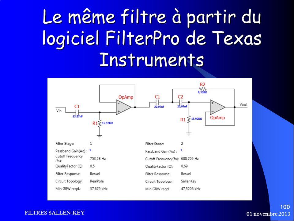 Le même filtre à partir du logiciel FilterPro de Texas Instruments 01 novembre 2013 FILTRES SALLEN-KEY 100