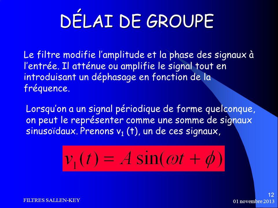 01 novembre 2013 FILTRES SALLEN-KEY 12 DÉLAI DE GROUPE Le filtre modifie lamplitude et la phase des signaux à lentrée.